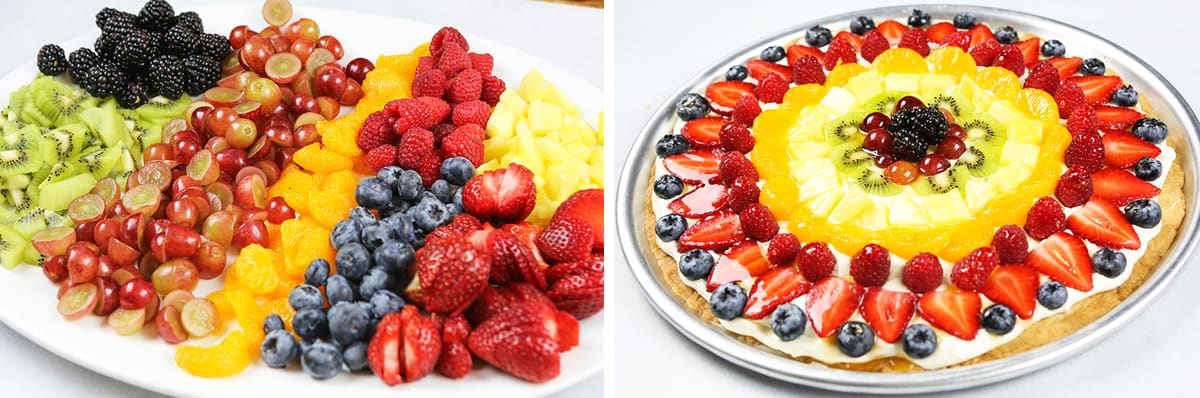 serving plate of fruit next to assembled fruit pizza