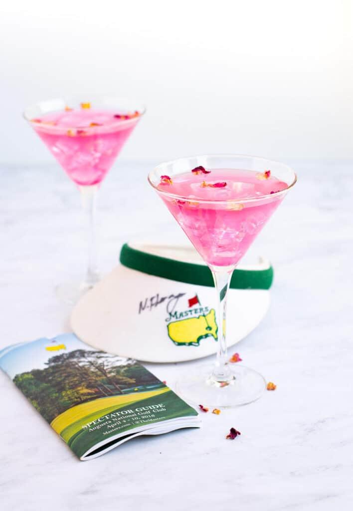 2 martini glasses of azalea cocktail