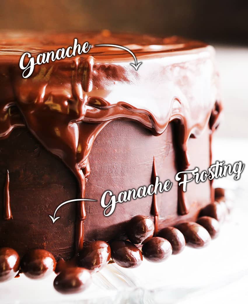 chocolate cake with drizzled ganache running down sides