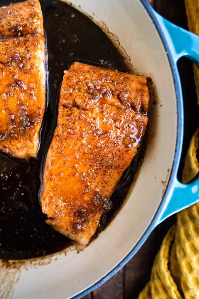 honey balsamic steelhead trout cooked in a pan