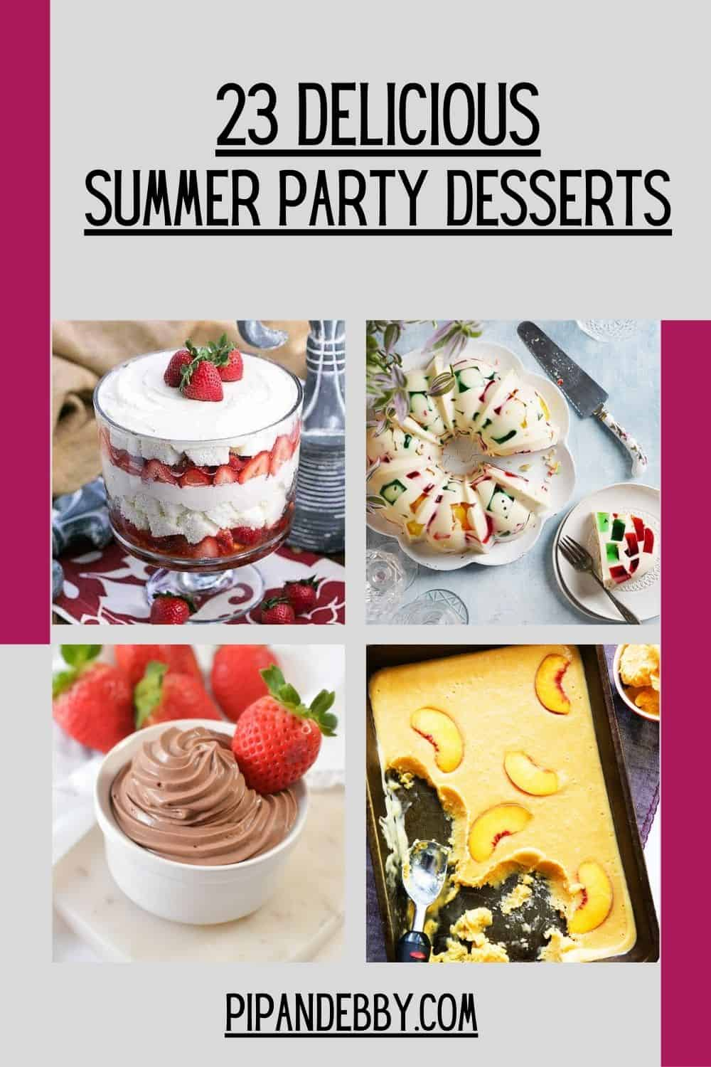 Roundup pin with 4 dessert photos for Pinterest.