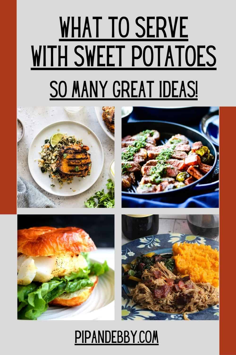 Pinterest roundup graphic with 4 recipe options to serve with sweet potatoes.