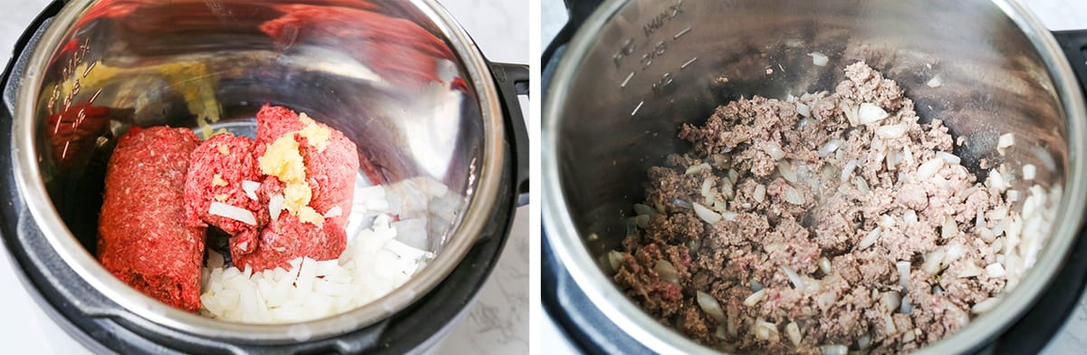 Ground beef in an Instant Pot with onions, next to a photo of cooked ground beef inside the pot.