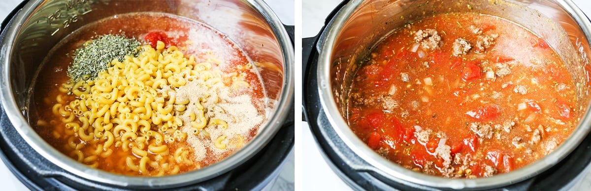 Pasta and sauce in an Instant Pot, next to stirred mixture in the pot.