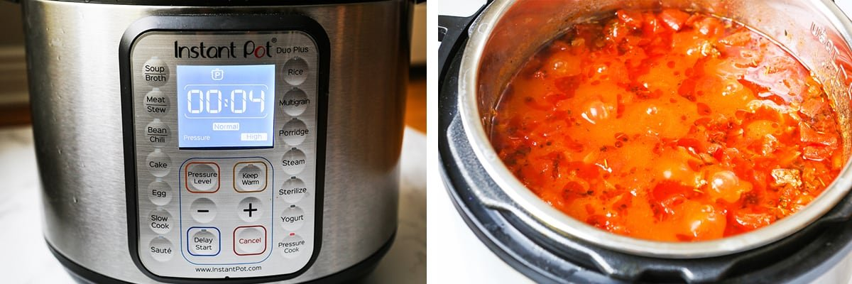 4 minute reading on an Instant Pot, next to bubbly sauce after cooking.