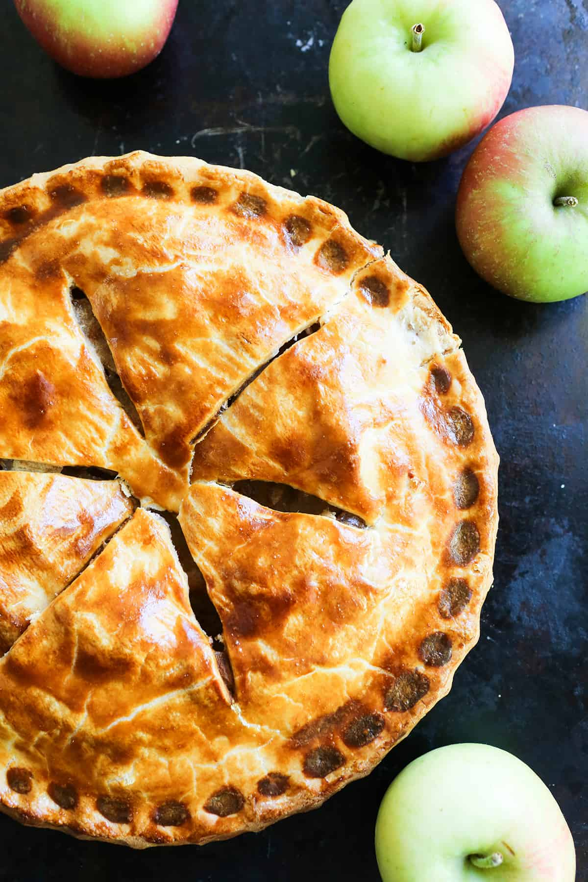 top view of perfectly baked easy apple pie.