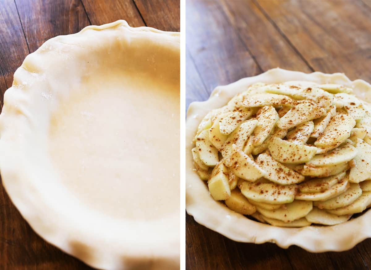 Two photos: on left, pie crust in pie plate with fork holes. on right, apple slices piled high in bottom crust.