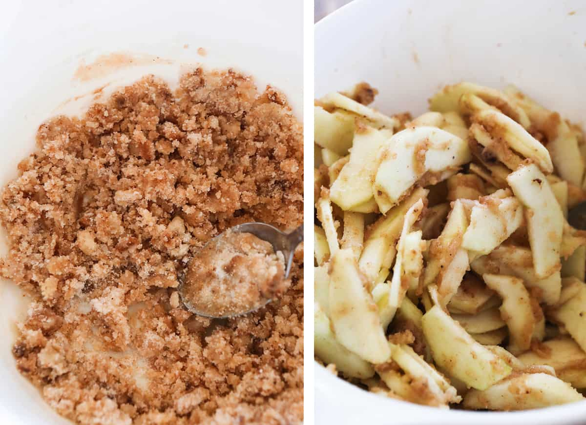 Two photos: on left, crumbly filling. on right, apple slices coated in filling.