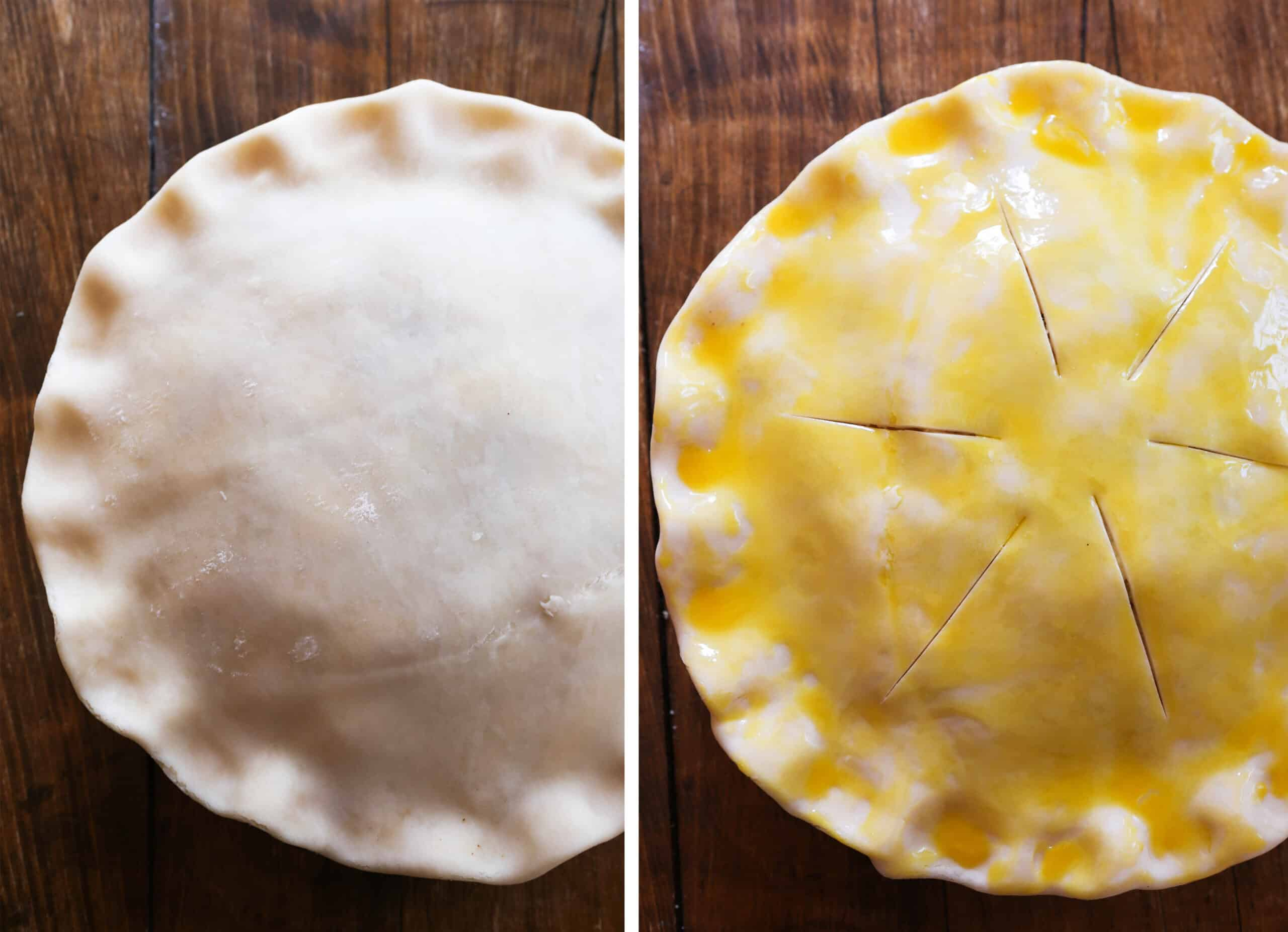 Two photos: on left, top crust crimped over apple pie. on right, egg wash brushed over top of crust.