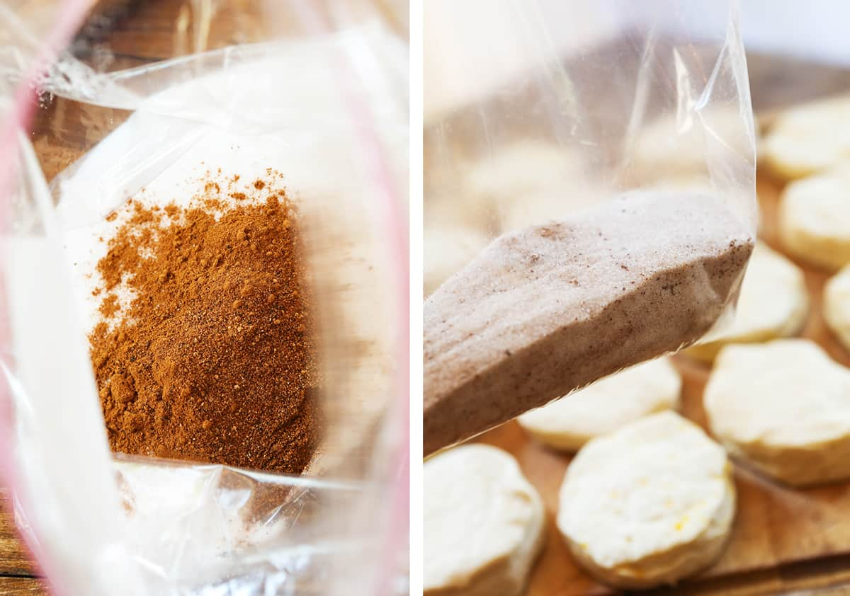Ziploc bag filled with cinnamon and sugar next to a photo of biscuits on a cutting board.