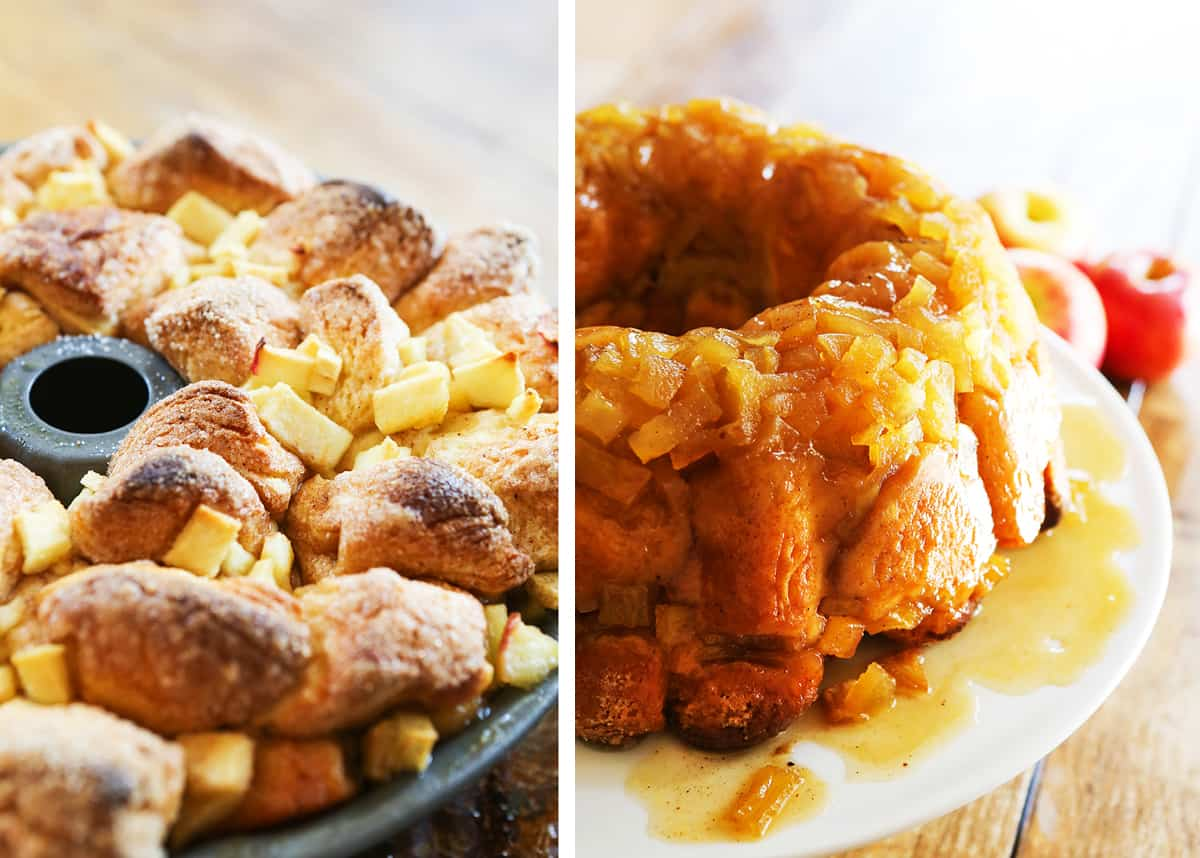 Apple Pie Monkey Bread after being pulled out of oven, next to a photo of it inverted and ready to serve.