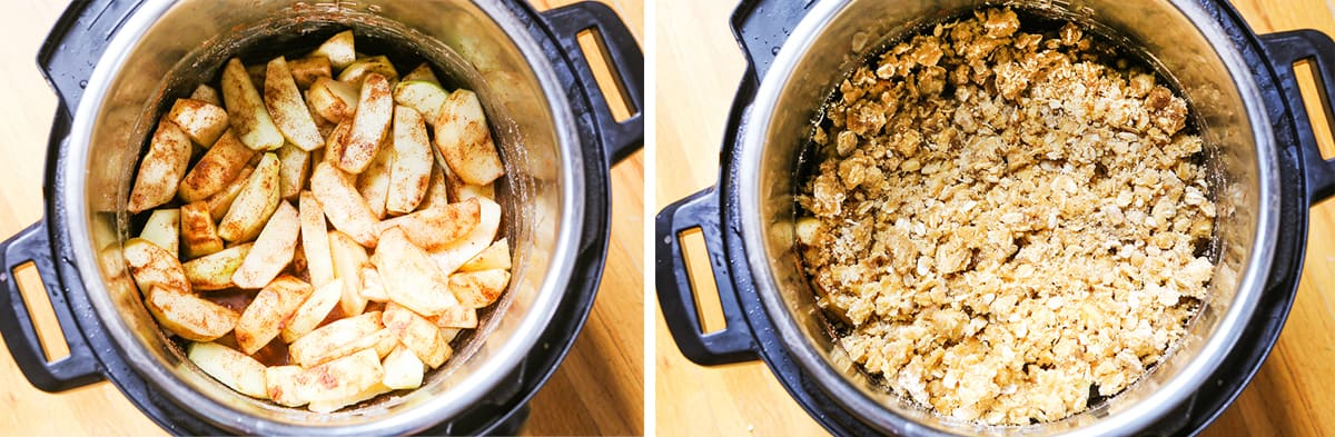 Crumble layer on top of apples in an Instant Pot next to apple-topped inner pot.