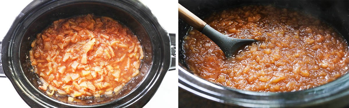 Two photos: on left, applesauce after cookies. on left, applesauce after mashing and stirring.