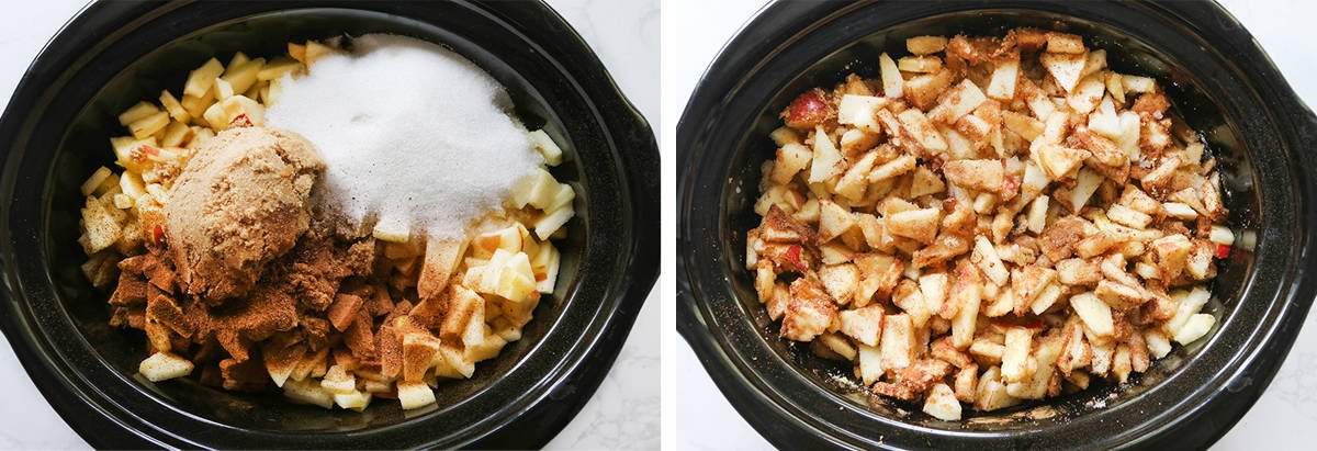 2 photos: on the left is apple butter ingredients in a crockpot, on the right everything is mixed together.
