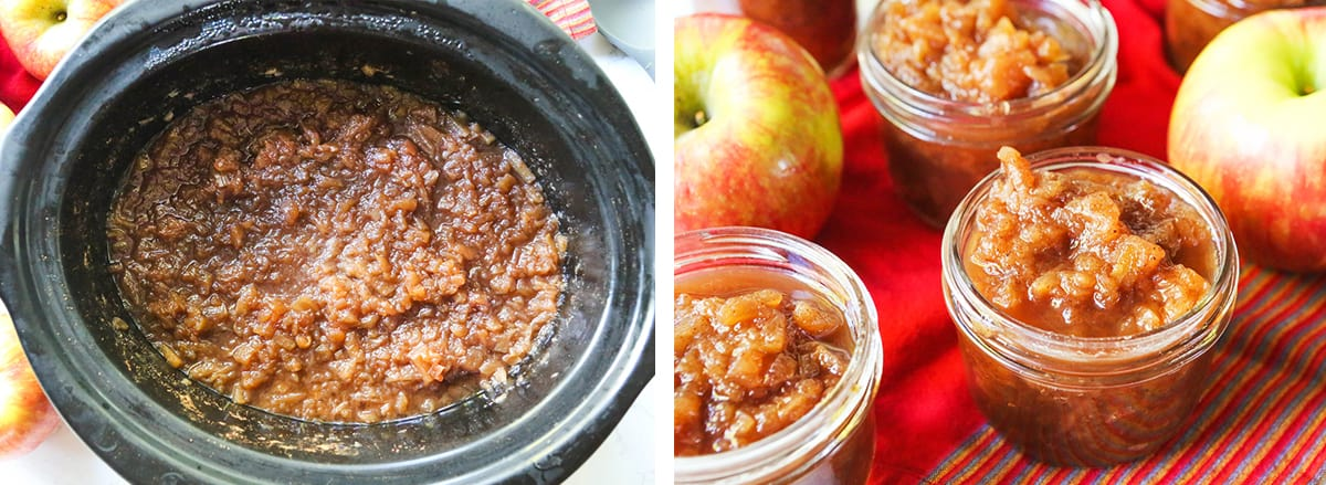 2 photos: on right, cooked apple butter in crockpot. on left, apple butter in mason jars.