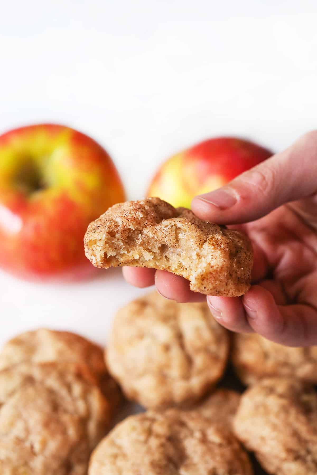 hand holding an apple snickerdoodle cookie with a bite removed.