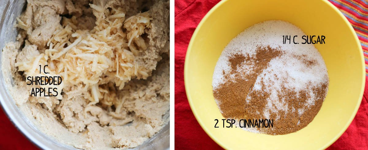 Two ingredient shots side by side. One with shredded apples in batter and the other with cinnamon sugar mixture.