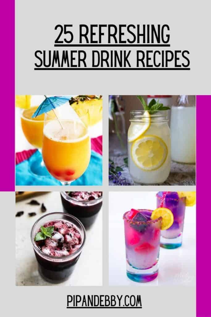 Pinterest pin with 4 summer drinks on it, along with header text.