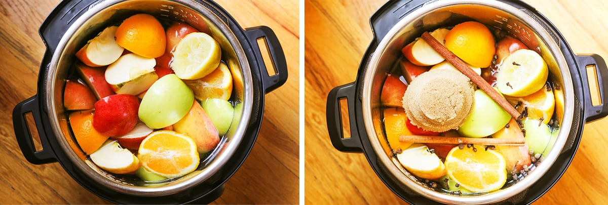 top view of the inside of the instant pot with all the ingredients ready to make instant pot apple cider.