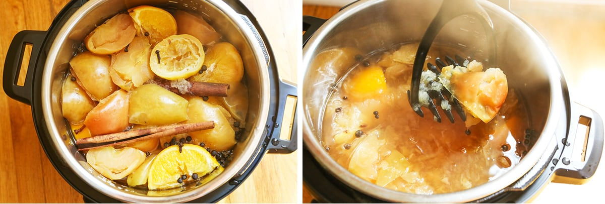 Two images: cooked ingredients in instant pot on left and masher mashing everything on the right.