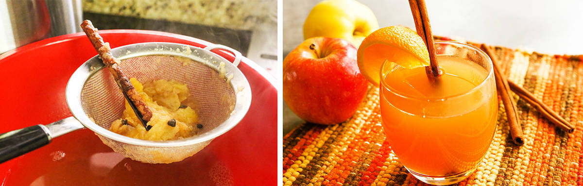 Apples being pushed through a strainer next to a photo of a glass of apple cider.