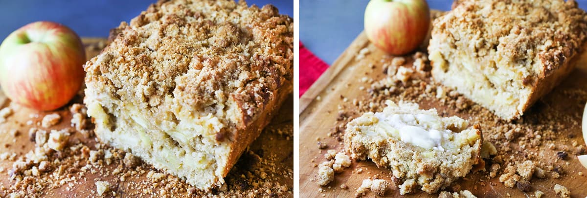 crumbly apple pie bread with piece sliced off.