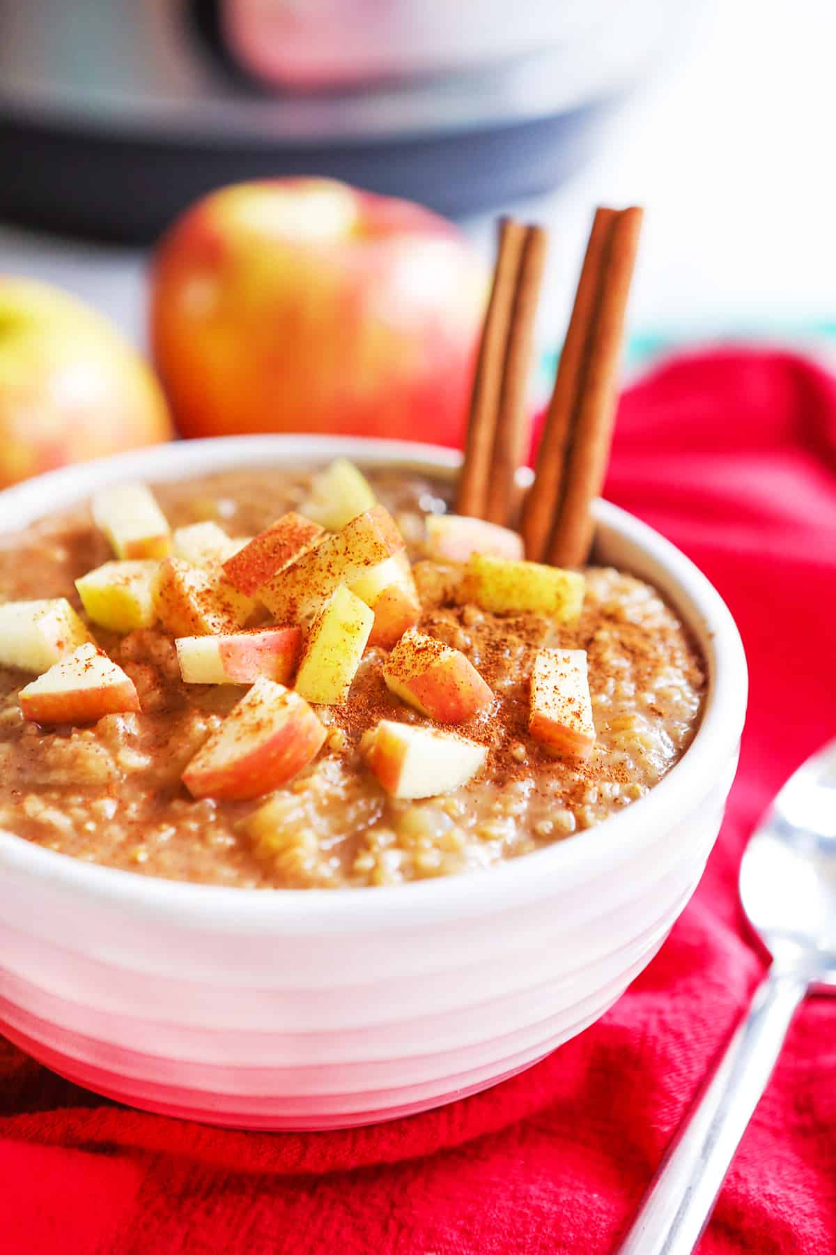 Prepared bowl of instant pot apple oatmeal with two cinnamon sticks sticking out.