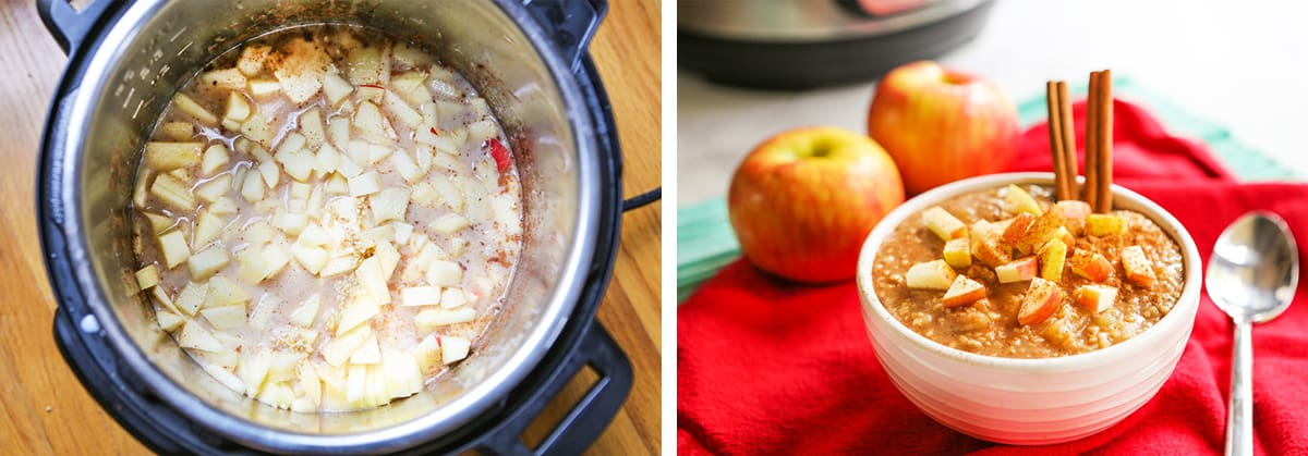 ingredients for oatmeal inside instant pot next to a bowl lf the oatmeal with cinnamon sticks.