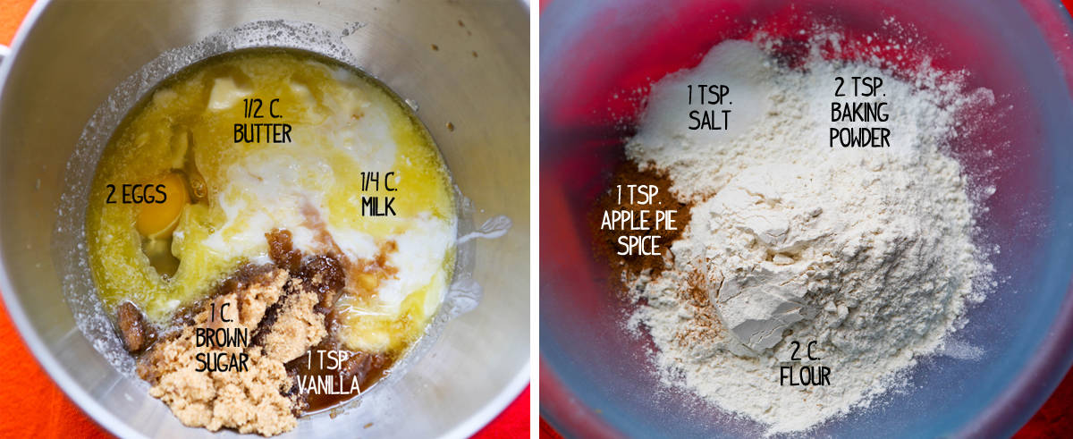 Wet ingredients in a bowl next to dry ingredients in mixing bowl.