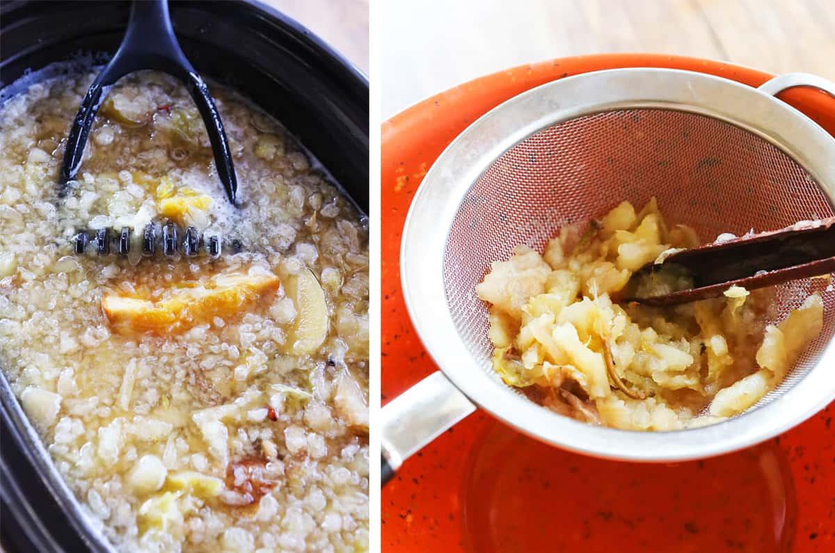 Mashed apples in a slow cooker next to pulp being pushed through a strainer.