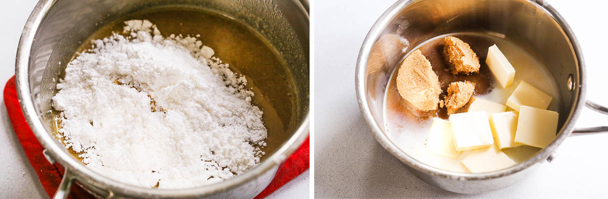 Ingredients for icing in a saucepan.