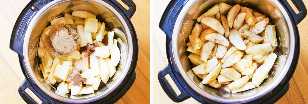 apples and cinnamon in instant pot before cooking.