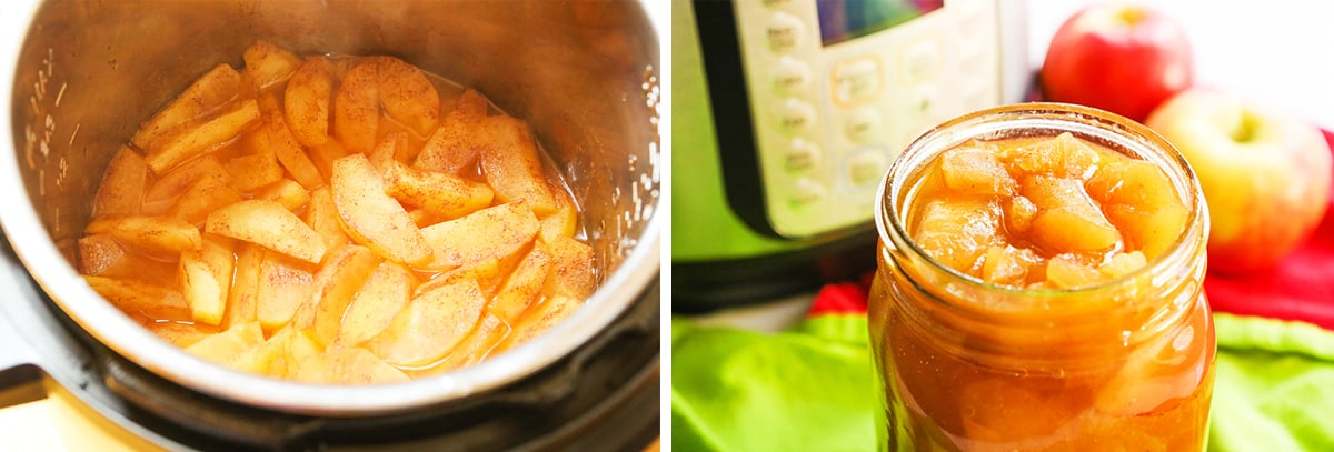 Cooked apple pie filling in an Instant Pot sitting next to mason jar filled with it.