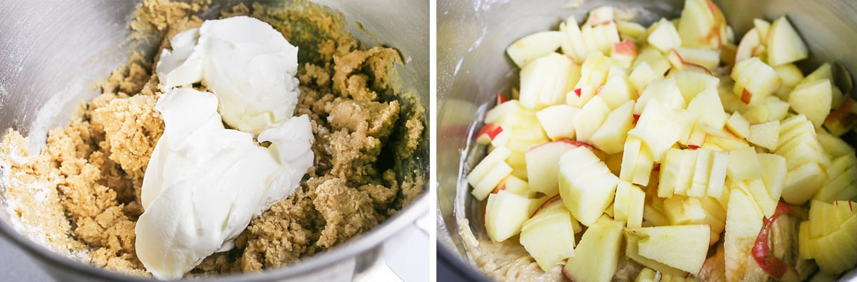 Batter in a mixing bowl with apple slices on top.