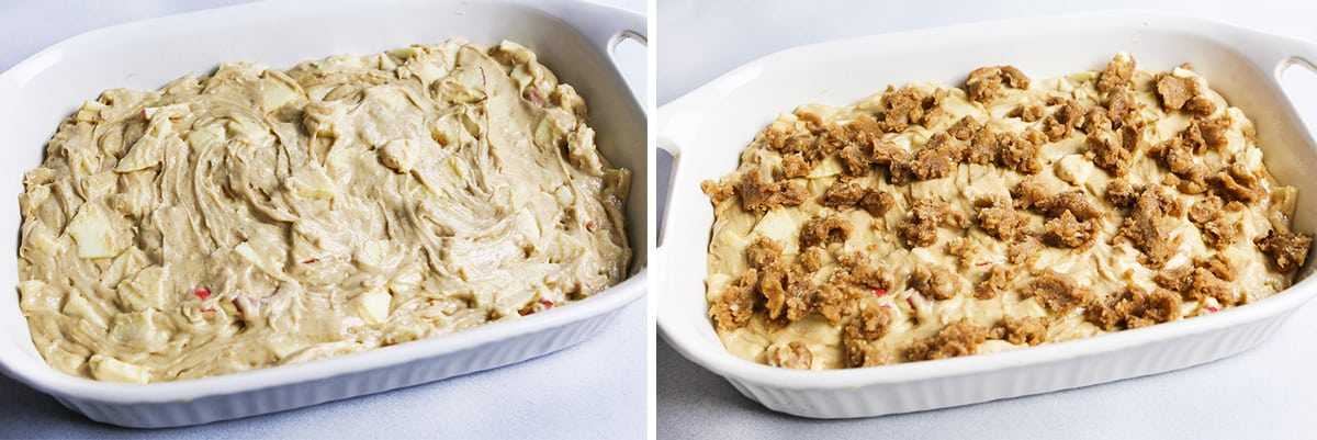 Batter for apple coffee cake in a baking pan next to the same shot with streusel topping on top.