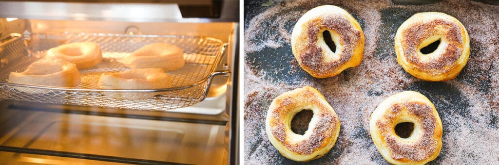 donuts in a dish with sugar and cinnamon.