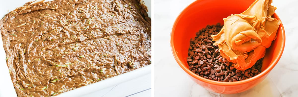 Chocolate batter in a baking dish sitting next to chocolate chips and peanut butter in a bowl.