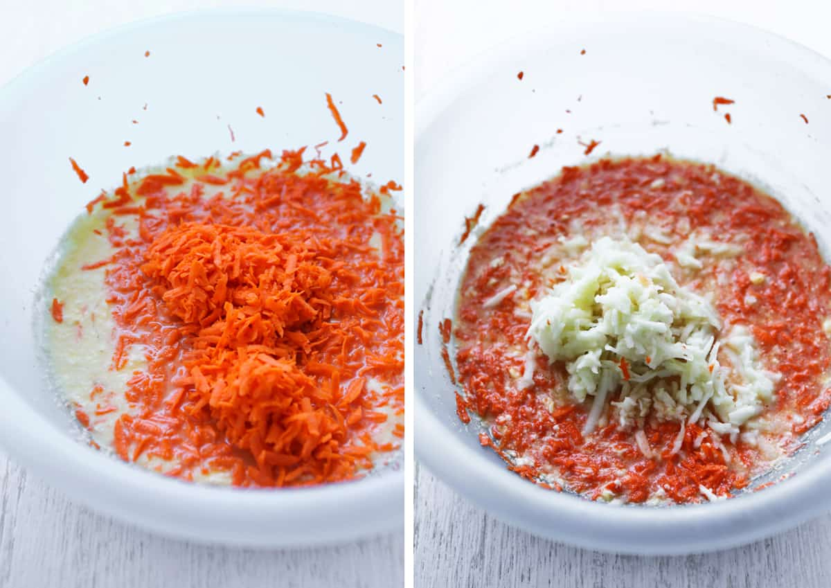 Wet ingredients in a bowl with shredded carrots and apples.