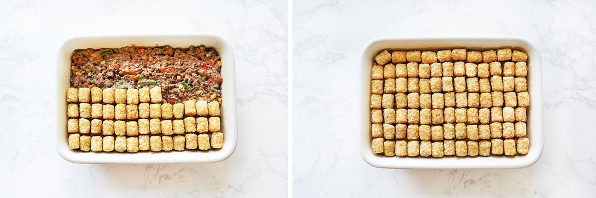 Tater tots covering ground beef mixture in a baking dish.
