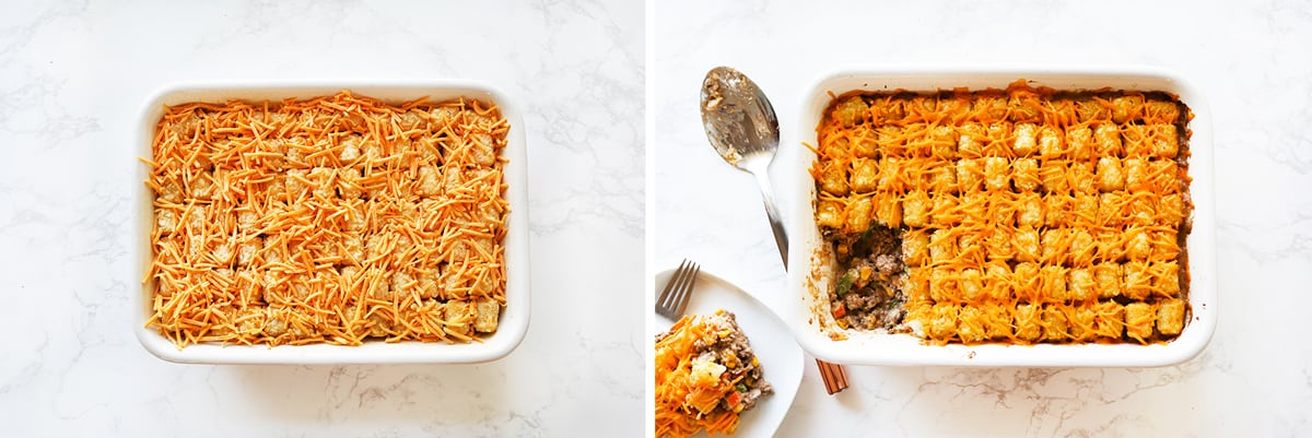 Tater Tot Casserole unbaked sitting next to the same dish after being baked.