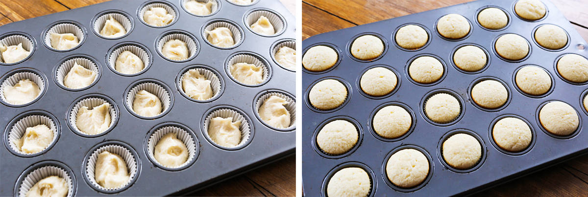 Muffin pan filled with cupcake liners and batter.