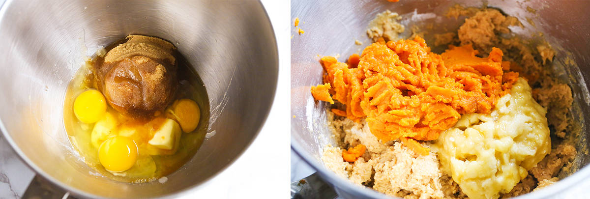 Wet ingredients in a mixing bowl, sitting next to mashed banana and pumpkin puree.