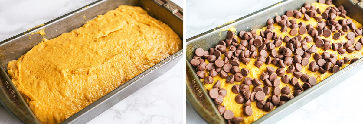 bread batter in a loaf pan topped with chocolate chips.
