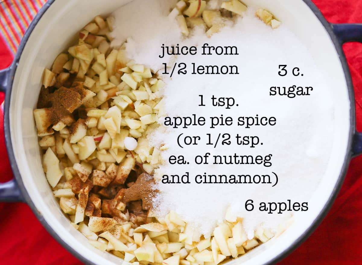 Apple pie jam ingredients in a Dutch oven before cooking.
