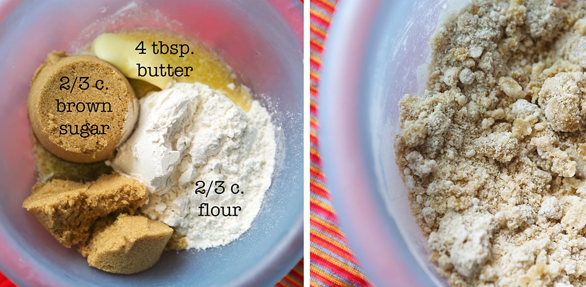 Streusel ingredients in a bowl, sitting next to the mixture when crumbly.