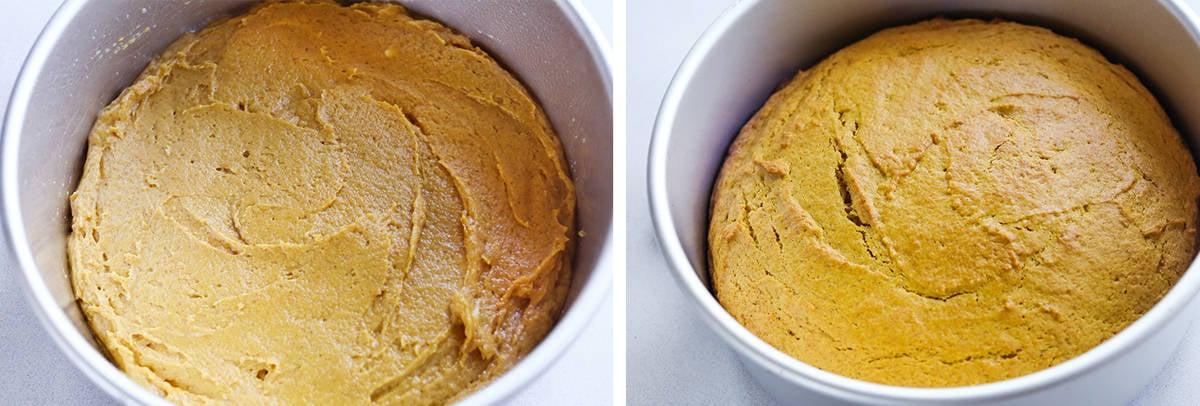 Pumpkin cake batter in round pan.