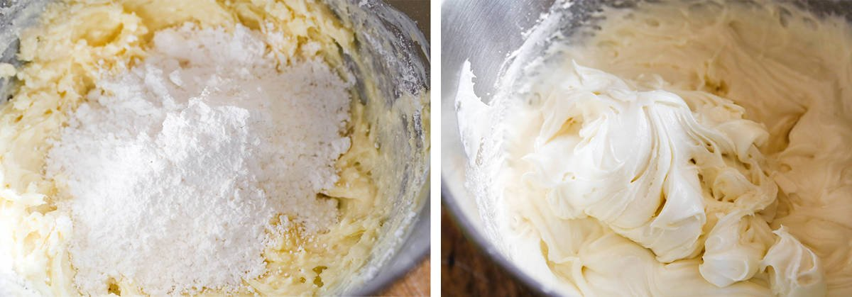 Frosting ingredients in a mixing bowl, next to frosting after mixed.