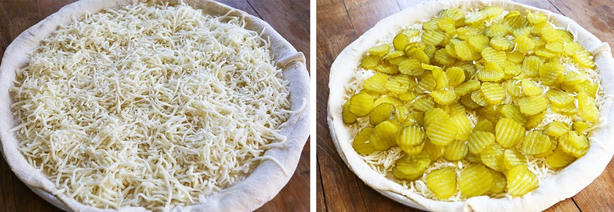 Pizza being assembled. Left image: mozzarella cheese layer. Right image: pickle layer.