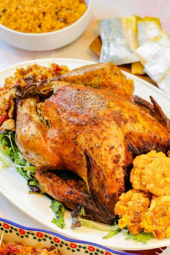 Baked turkey with seasonings and veggies sitting on a plate, ready to be carved and served.