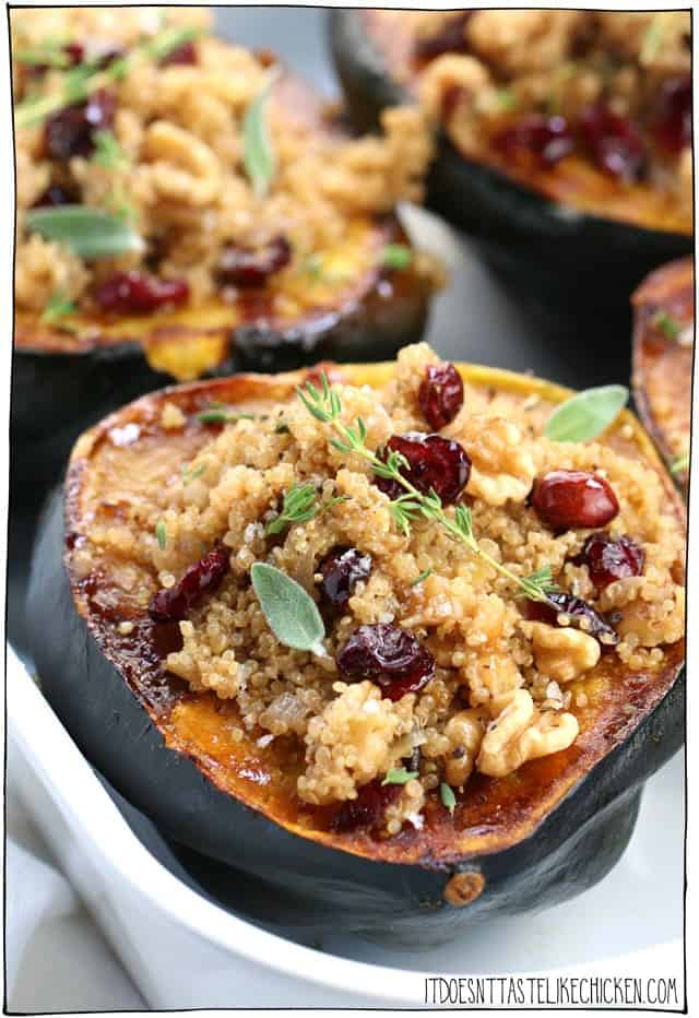 Stuffed acorn squash filled and ready to eat.